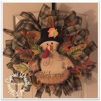 WR2123 - Metal Turkey Welcome Mesh Wreath