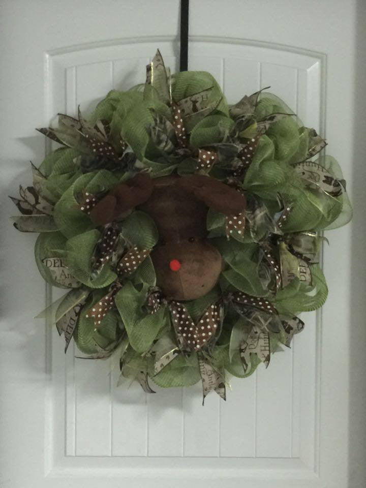 Reindeer with Green and Hunting Ribbon Wreath