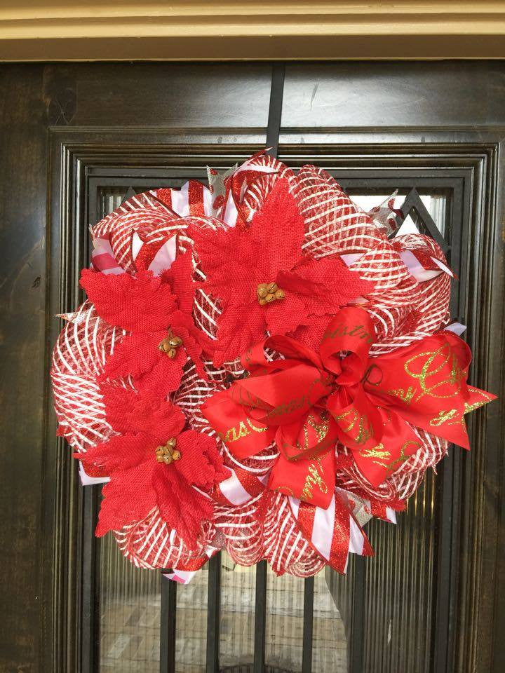 Red and White Poinsettia Wreath