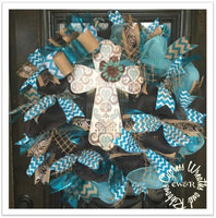 Turquoise and Burlap Wreath with Cross