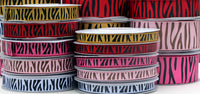 Zebra Printed Grosgrain Ribbon - 25 Yards