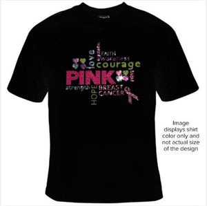 #SHRH1001 - Pink Breast Cancer Rhinestone Collage