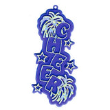 Cheer Charm – 3.25″ – White/Holographic Silver – 2 pc. pkg.