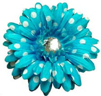 4″ Polka Dot Daisy with 22mm Rhinestone with hair clip