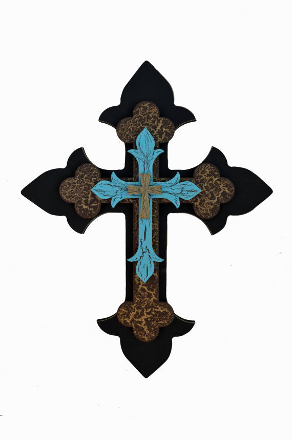 Turquoise and Red Layered Cross
