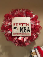 U of H Wreath with Custom Sign & Ribbon
