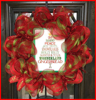 Red and Green Christmas Wreath with Sign