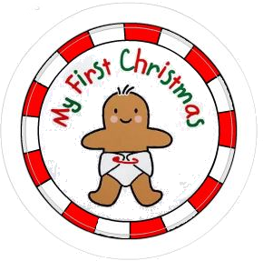 "My First Christmas Gingerbread 2.25"" Round Button"