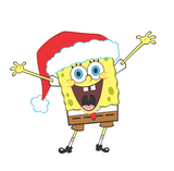 "Spongebob Santa Hat 2.25"" Round Button"
