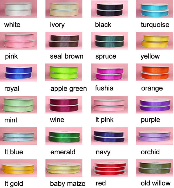 "3/8 "" Excellent Quality Grosgrain Ribbon - 50 Yards"
