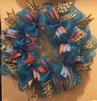 Tiffany Blue, Salmon and Burlap Wreath