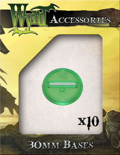 Green 30mm Translucent Bases  (10 pack) - Wyrd Miniatures - Online Store