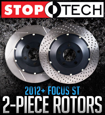StopTech Two-Piece Rotors: 2012+ Ford Focus ST Zinc Plated Front Rotors (320x25mm)