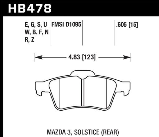 Hawk 13-14 Ford Focus ST / Mazda/ Volvo Blue 9012 Rear Race Brake Pads