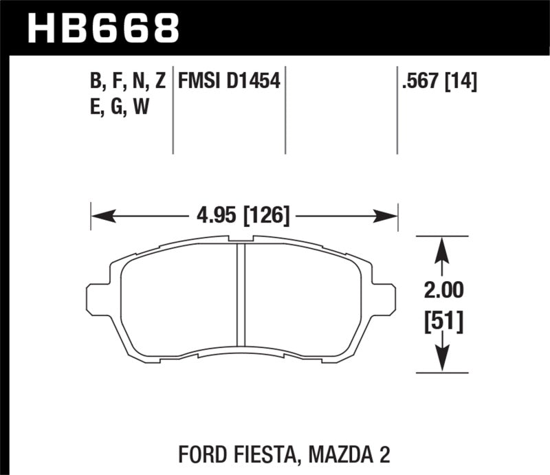 Hawk 11-12 Ford Fiesta S/SE/SEL / 11-12 Mazda 2 Sport/Touring DTC-60 Front Race Brake Pads
