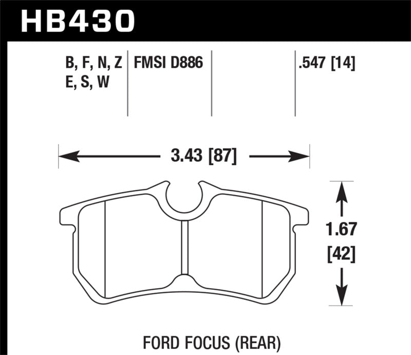 Hawk 00-07 Ford Focus DTC30 Rear Race Brake Pads