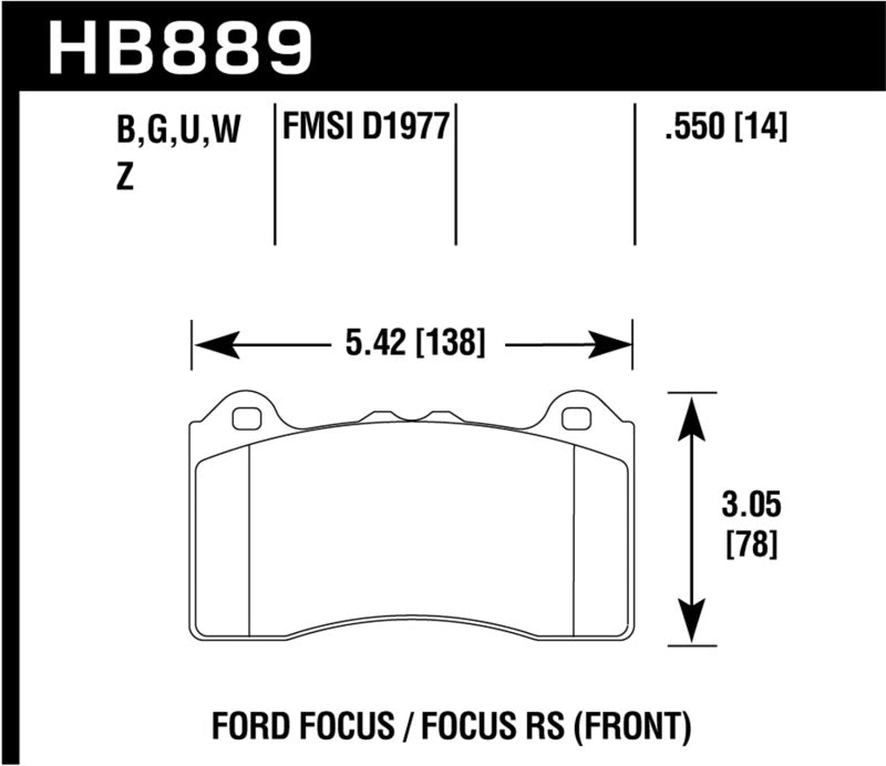 Hawk 2017 Ford Focus DTC-70 Race Front Brake Pads