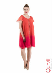 Ombre Chiffon Swing Dress