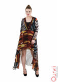 Tribal print Chiffon Hi Lo Dress