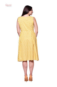 Mustard box pleated dress