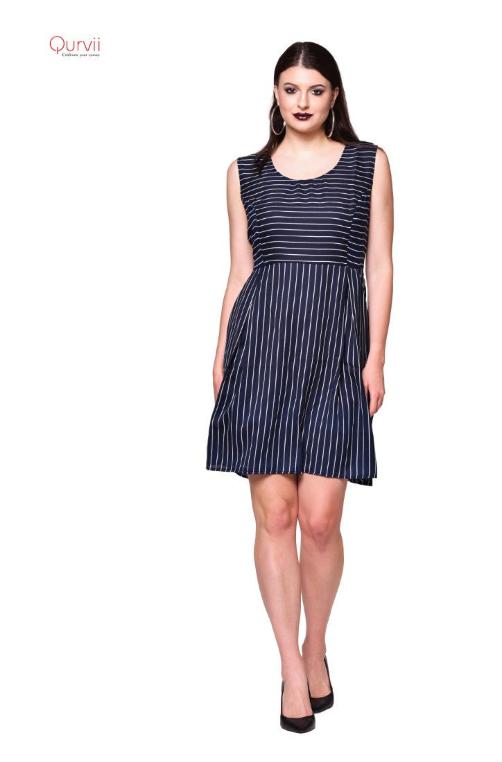 Navy Striped box pleated dress