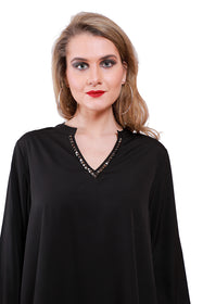 QURVII Hi lo Black crepe top