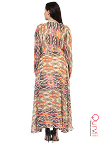 Qurvii Women Ikhat Print Hi Lo Designer Dress