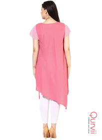 Qurvii Designer Women Solid Moss-crepe Asymmetrical Pink Dress