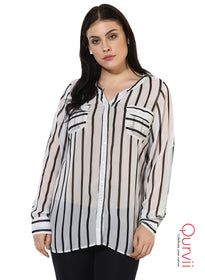 Qurvii Designer White Striped Shirt Top For Women