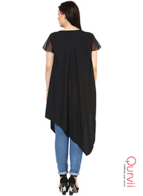 Qurvii Designer Solid crepe Tunic For Women