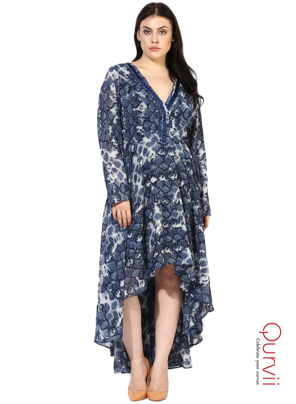 Qurvii Women Designer Hi lo Blue Dress