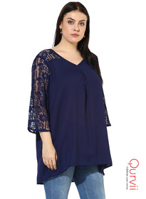Qurvii Designer Blue Mix media solid Tunic For Women