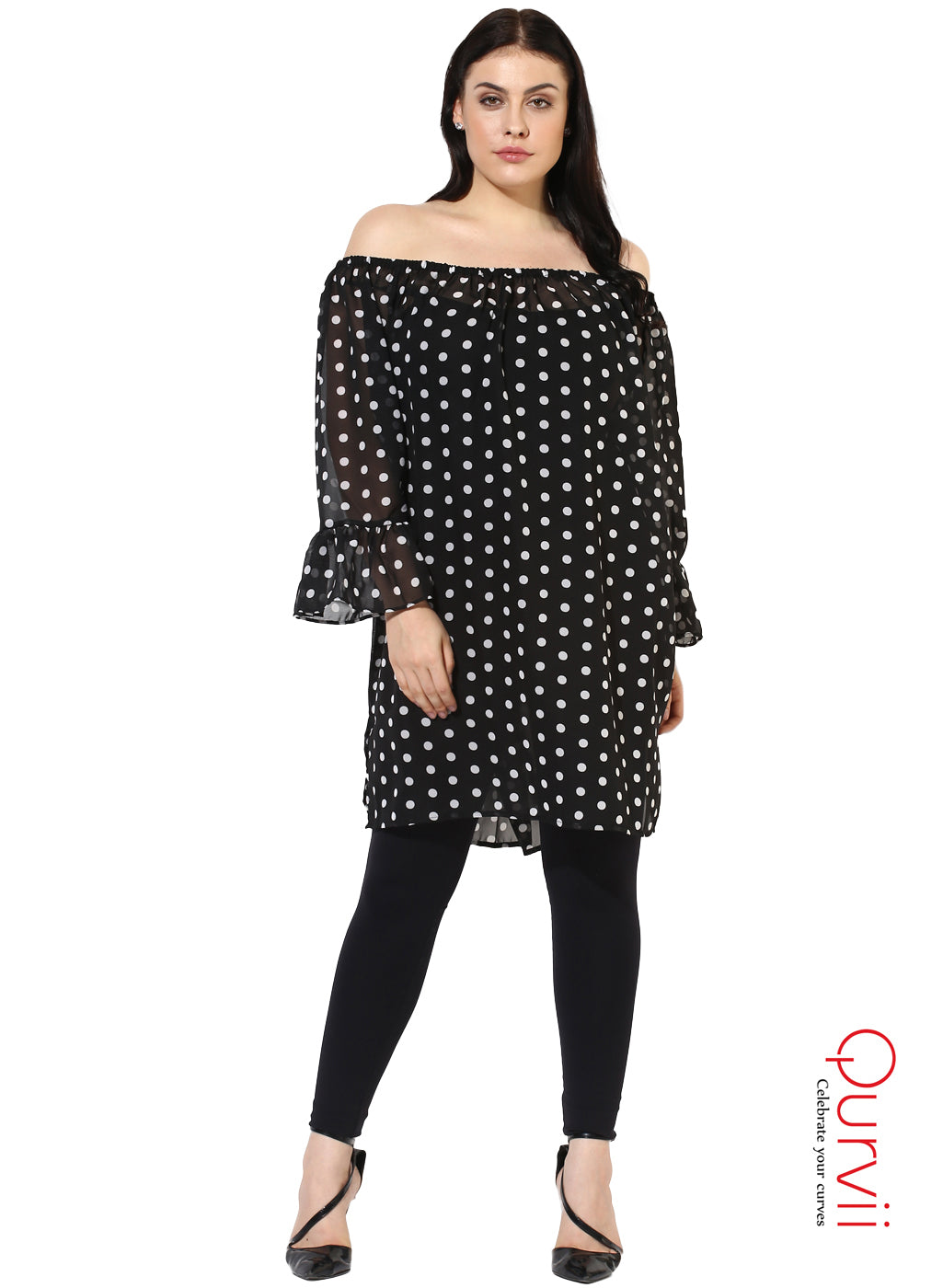 b492b71a7f8e Qurvii Designer Polka Off Shoulder Sheer Black Tunic For Women – QURVII