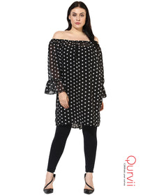 Qurvii Designer Polka Off Shoulder Sheer Black Tunic For Women
