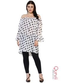 Qurvii Designer Polka Off Shoulder Sheer White Tunic For Women