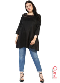 Qurvii Designer Women Black Solid Tunic