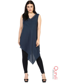 Qurvii Women Solid Moss-crepe Asymmetrical Teal dress