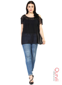 Qurvii Designer Women Black georegtte cold Shld Top