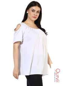 Qurvii Designer Women solid cold shld Top