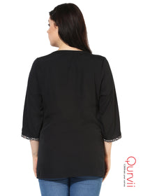Qurvii Designer Solid  crepe Black shirt For Women