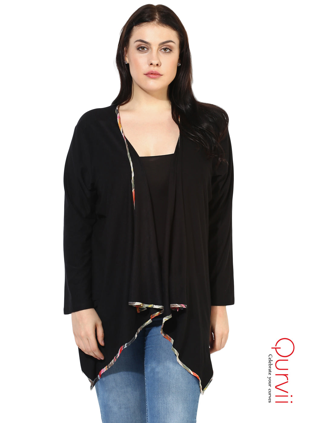 Qurvii Designer Black Jersey Shrug/jacket For Women