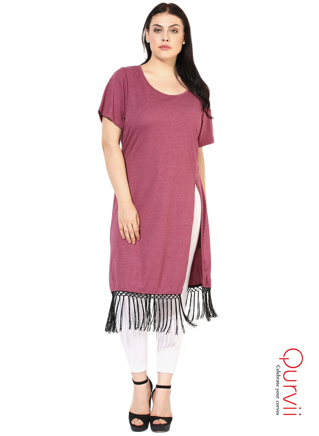 Qurvii Tasseled Long maroon Tunic For Women
