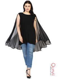 Qurvii Designer Cape Jeresy tunic For Women
