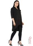 Qurvii Black crepe hi lo tunic For Women