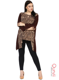 Qurvii Leopard print mix media Designer Women Brown Tunic