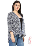 Qurvii Women Stylish Geometric Print Shrug