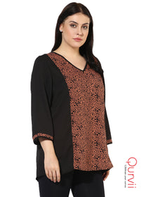 Qurvii Moss crepe V Neck tunic For Women