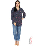 Qurvii Half Placket Women Navy Tunic