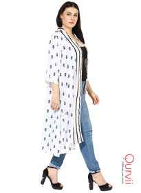 Qurvii Booti print moss crepe duster Stylish Shrug for Women