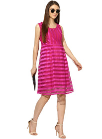 Pink velevt stripe box pleated dress